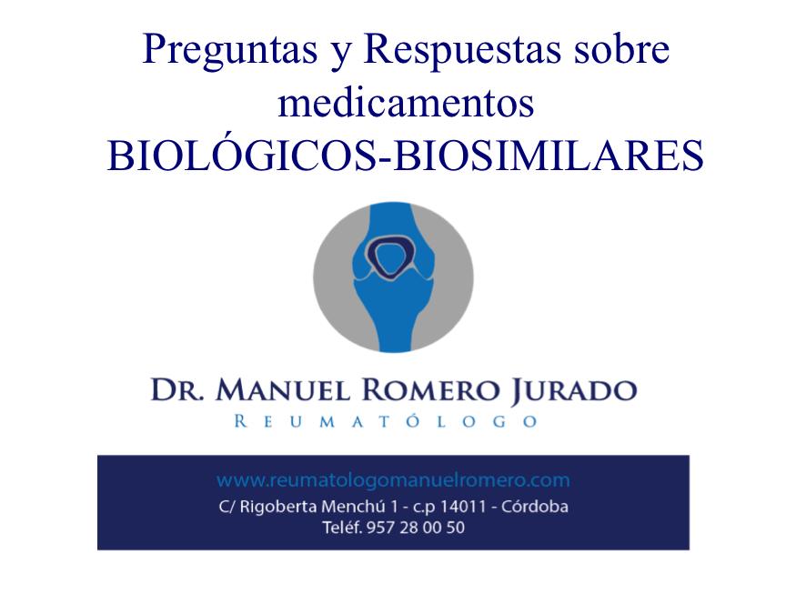 Preguntas y Respuestas sobre Medicamnetos Biosimilares